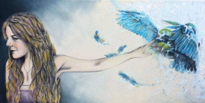 Laissez aller pour mieux accueillir. L'oiseau représente cette chose que l'on désire tant et nous ne sommes pas sur de savoir s'il arrive ou s'il part. Lâcher prise pour mieux accueillir.