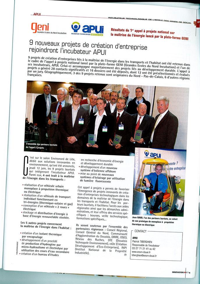 Lauréat appel à projets APUI Douai  - 2009