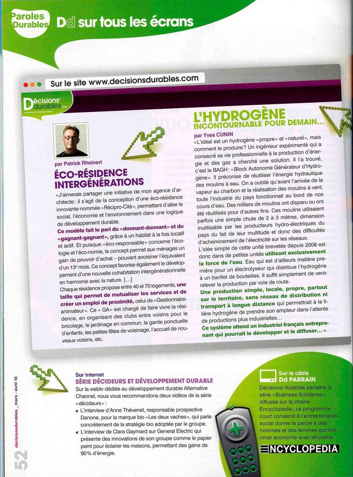 Magazine Décisions Durables Avril 2010