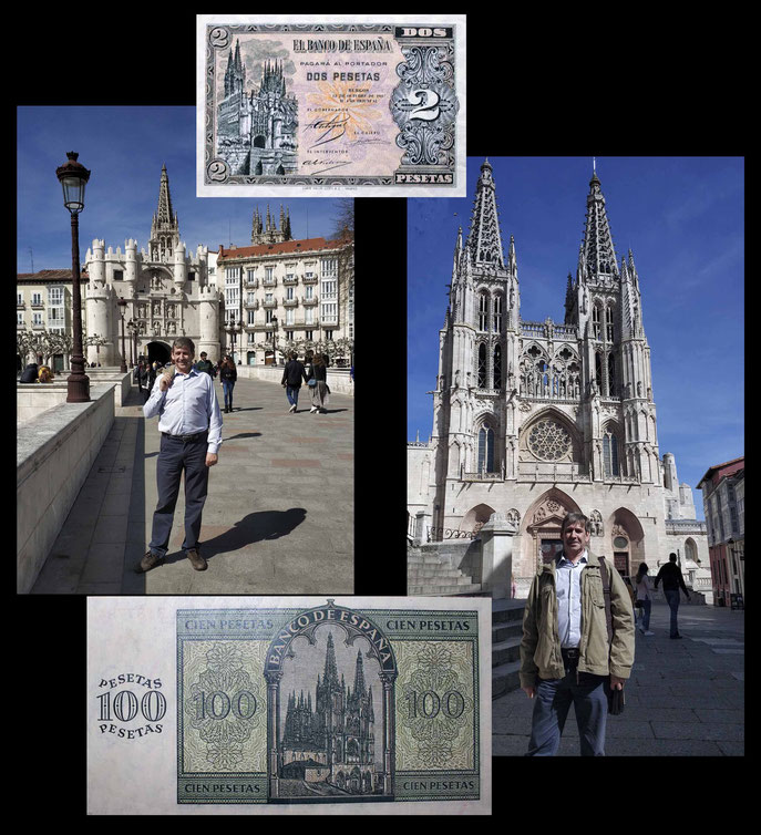 desde el puente de Santa María sobre el río Arlanzón y al fondo el arco de Sta. María y la Catedral