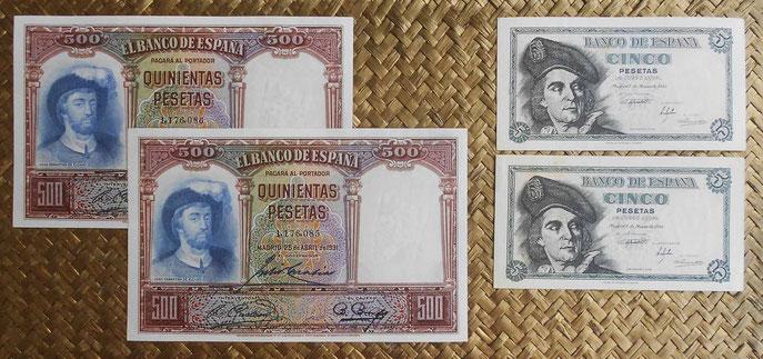 España JS. Elcano en su billetario 5000 pesetas 1931 y 5 pesetas 1948 anversos