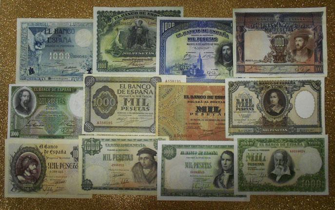 Los primeros 12 billetes de 1000 pesetas del siglo XX  ... ¡Una alfombra de ensueño!