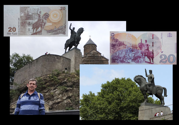 20 Laris Georgia desde estatua ecuestre rey Vakhtang Gorgasali en Tbilisi