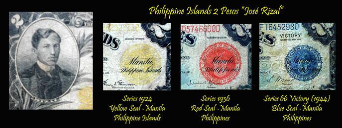 Pesos de Filipinas y su diversidad de sellos de colores bajo influencia americana