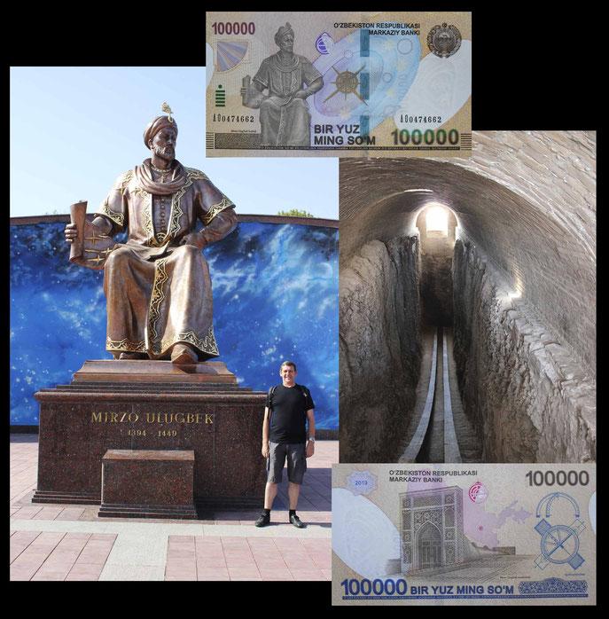 Ulugh Beg en el Observatorio homónimo de Samarkanda y en el billete de 100.000 Sum de 2019
