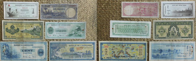 Indochina serie colonial Piastras años '40s. XX anversos y reversos