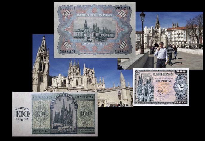 desde la Catedral de Burgos en las 50 pesetas de 1957, 100 pesetas de 1936 y 2 pesetas de 1937/38