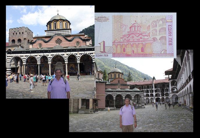desde el Monasterio de Rila en el billete 1 leva de Bulgaria de 1999