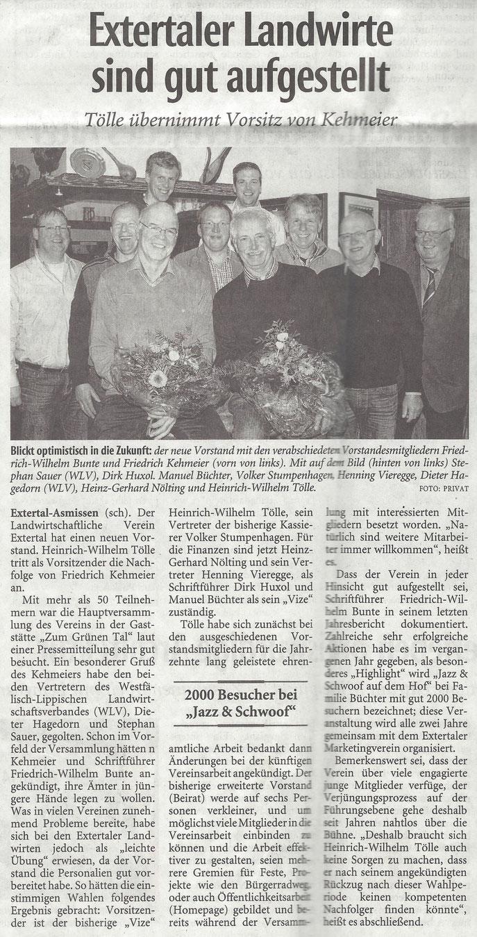 Quelle: Lippische Landeszeitung / Januar 2015