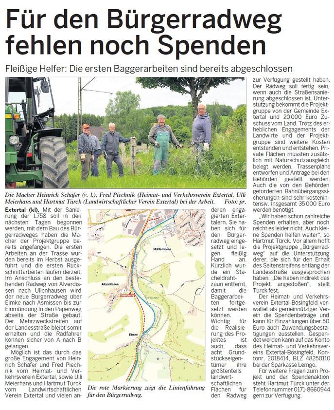 Quelle: Nordlippischer Anzeiger, Titelblatt, 10.06.2015
