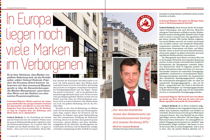 Expert article out of iconannual 2016  Dr. Gerhard Hrebicek, President European Brand Institute