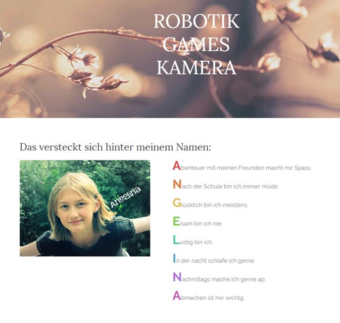 Homepage von Angelina