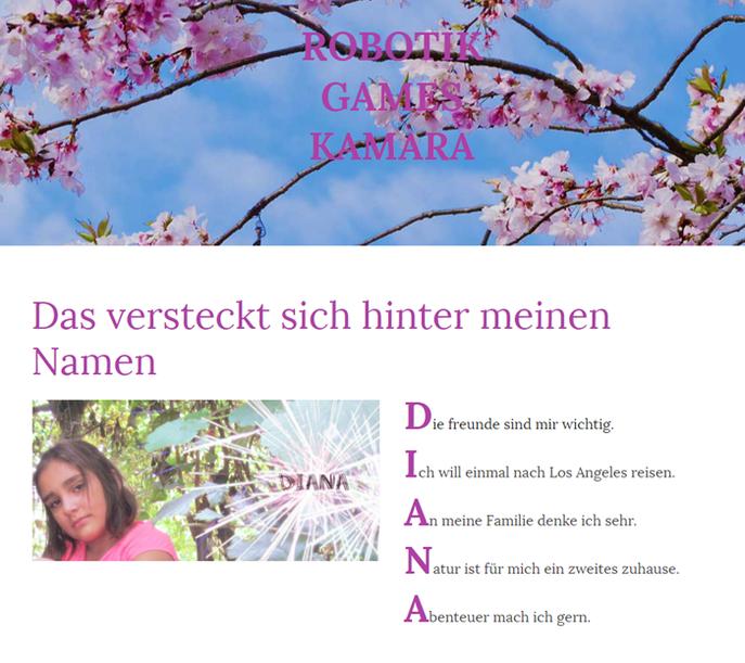 Homepage von Diana