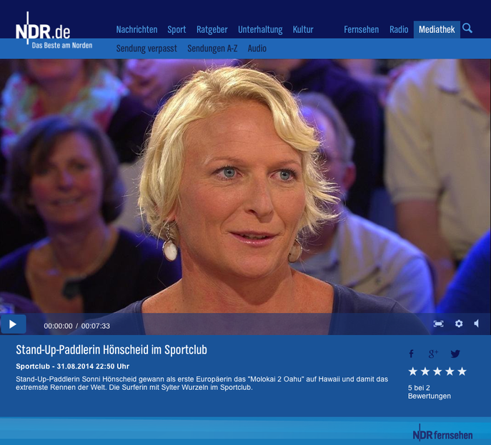 Sonni Hönscheid at the NDR TV Sportclub