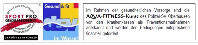 gesundheitliche vorsorge, aqua fitness kurse des psv oberhausen von krankenkassen als präventionsmaßnahme anerkannt
