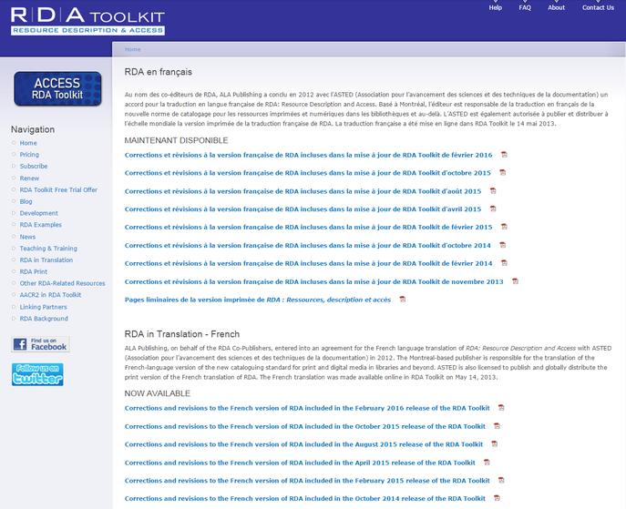 Dokumentation der Änderungen in der französischen RDA-Fassung