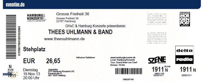 Nr.111 - 19.11.2013 - Thees Uhlmann - Große Freiheit 36, Hamburg