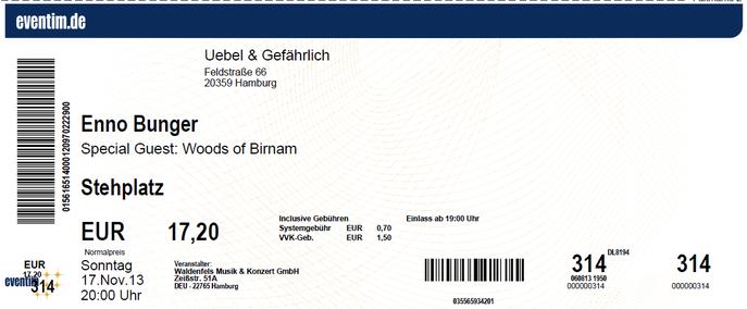 Nr.110 - 17.11.2013 - Enno Bunger - Uebel & Gefährlich, Hamburg