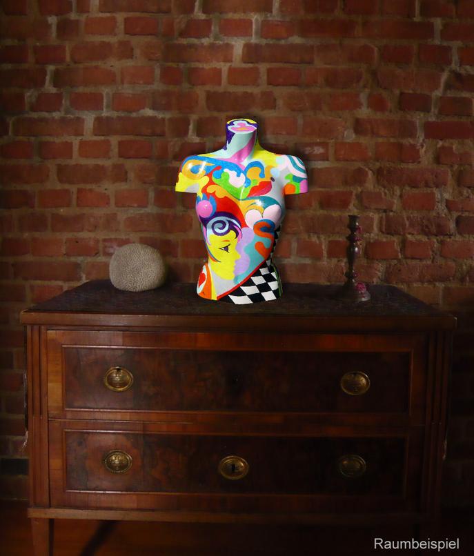 Torso 12 / 1, Skulptur, bunt, abstrakt, Art, Kunst, Malerei, Original, Unikat, Kunststoff, Acryl, Raumbeispiel
