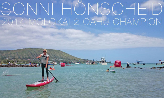 Sonni Hönscheid wins the 2014 Molokai 2 Oahu Paddleboard World Championships