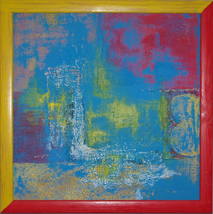 Sehnsucht  Öl und Gips und Strukturpasten auf Leinwand   50 x 50 cm