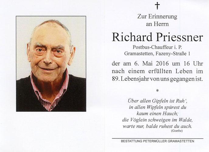 Begräbnis von unserem GREILI - Mitglied Richard Priessner am 12.05 ...