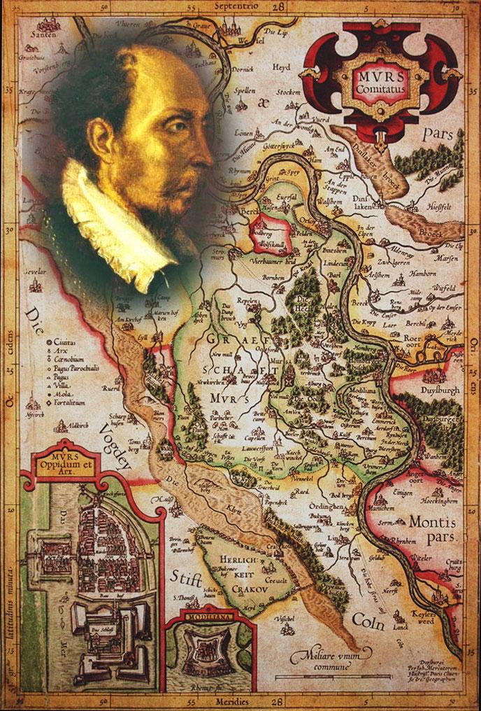 Quelle: Grafschafter Museum Moers; Die Grafschaft Moers. Karte von Johannes Mercator 1591. Kolorierter Kupferstich.  Graf Hermann von Neuenahr-Moers.  Fotomontage H.Kuhlen