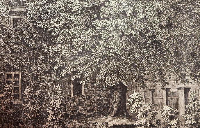 """Quelle: Ev. Kirchenarchiv Baerl; Detail aus der Lithographie """"Die Reformationslinde am Pfarrhaus zu Baerl"""". Die Abbildung zeigt eine 5-köpfige Personengruppe unter der Linde."""