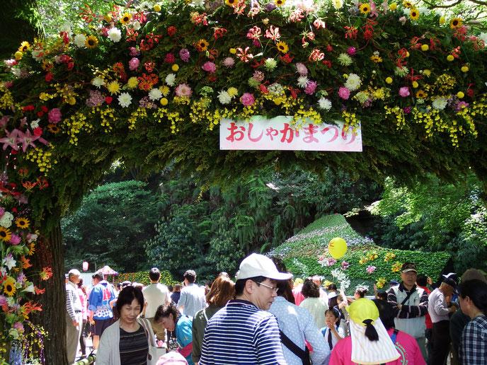 宝満寺の花門。境内も花で飾られ、メインステージなども設置されている