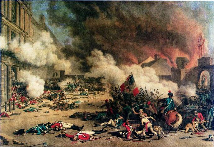 Storm på Tuilerien 10. august 1792 (maleri af Jean Duplessis-Bertaux, 1793)