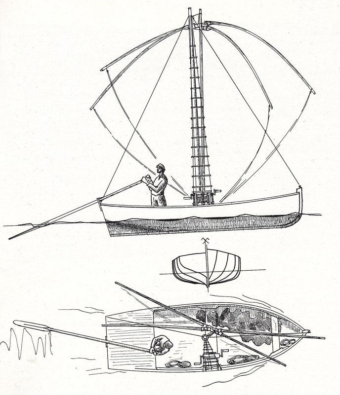 Bateau carrelet dessiné par Jean Le bot dans « Bateaux des côtes de Bretagne nord », il semble peu large avec un franc bord faible