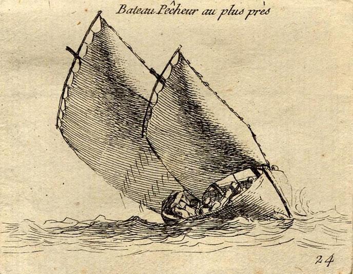Bateau pêcheur au plus près le gréement est proche de celui postérieur des chaloupes sardinières ou des sinagots (Gravure Pierre Ozanne)