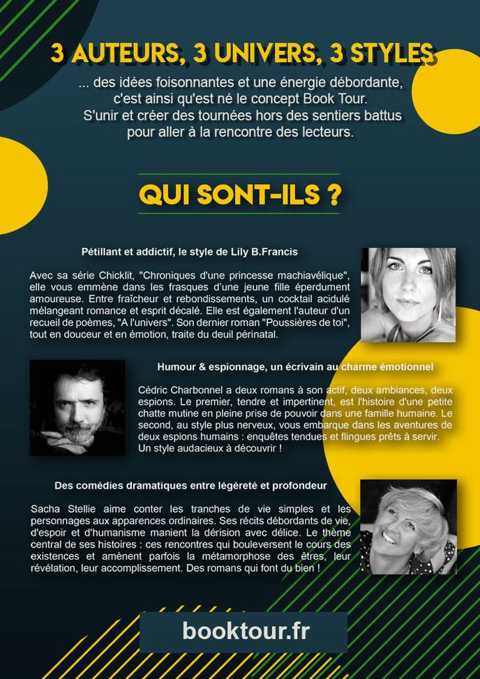 Booktour, sacha stellie, lily B.francis, cédric chrbonnel, bordeaux, auteurs bordeaux, romans, littérature