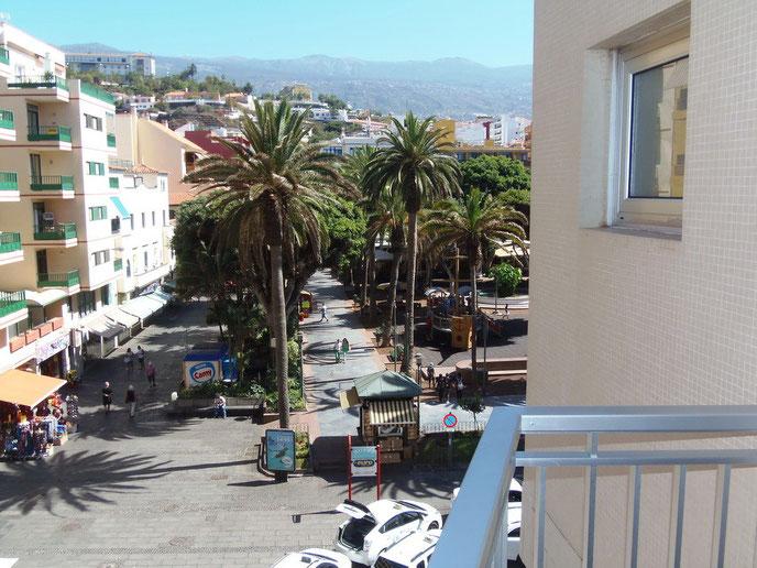 Bild: Blick vom Balkon nach rechts wo man die Palmen vom Plaza del Charco in Puerto de la Cruz sehen kann.