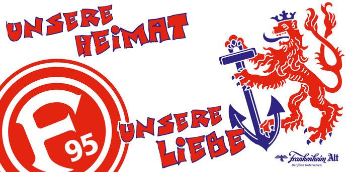 Logo Fortuna Düsseldorf und Bergischr Löwe mit dem Schriftzug Unsere Heimat Unsere Liebe