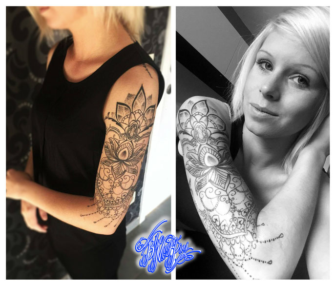Blue Magic Pins Tattoo shop Belgium Genk custom design realistic black and grey watercolor flowers feminine tattoos sexy beautiful girl mandala lotus sleeve tattoo beautiful