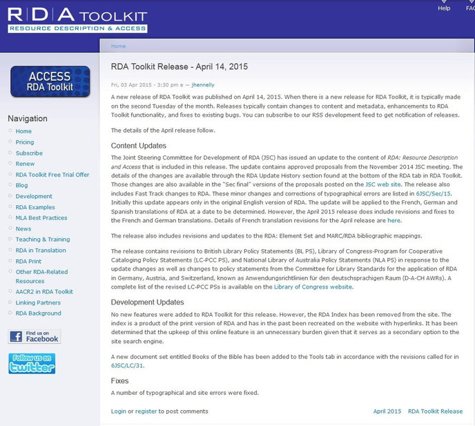Screenshot Infos zum April-Release auf der Website des RDA Toolkit