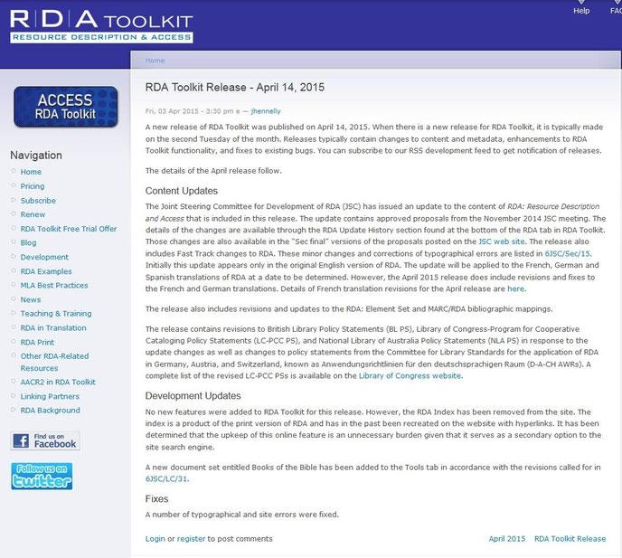 Screenshot Infos zum April-Release auf der Website des RDA Toolkit