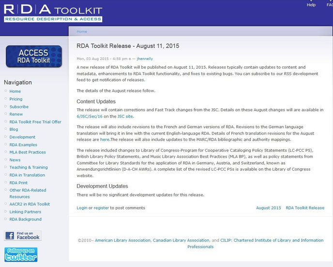 Screenshot Infos zum August-Release auf der Website des RDA Toolkit