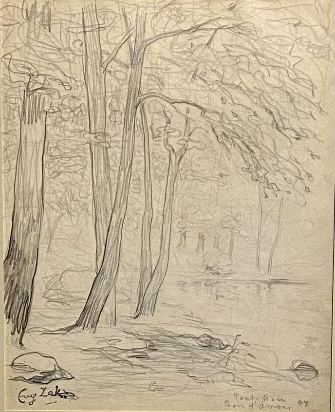 Eugène Zak,  Pont Aven, Bois d'amour  ,  1904 , mine de plomb sur papier/ pencil on paper, cachet de la signature, titrée, située et datée au crayon , 21 x 17 cm , galerie agnes thiebault, Paris