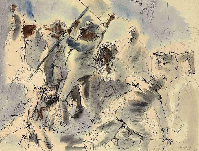 "G. Grosz, ""Kommunismus marschiert"" (ca. 1930)"