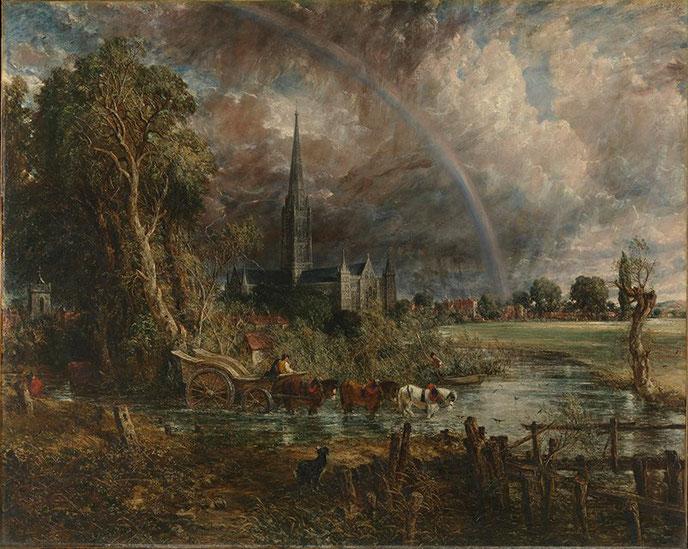 """John Constable, """"La cattedrale di Salisbury vista dai prati"""" (1829)"""
