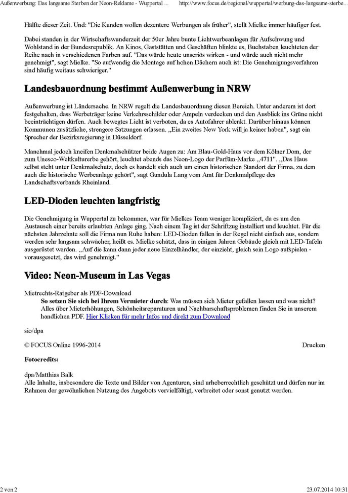 Die Lichtwerbefabrik im Focus - Das langsame Sterben der Neon-Reklame