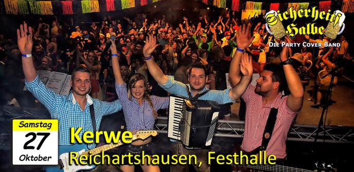 Veranstaltung der Party Cover Band Sicherheitshalbe auf der Kerwe in Reichartshausen in der Festhalle am 27.10.2018