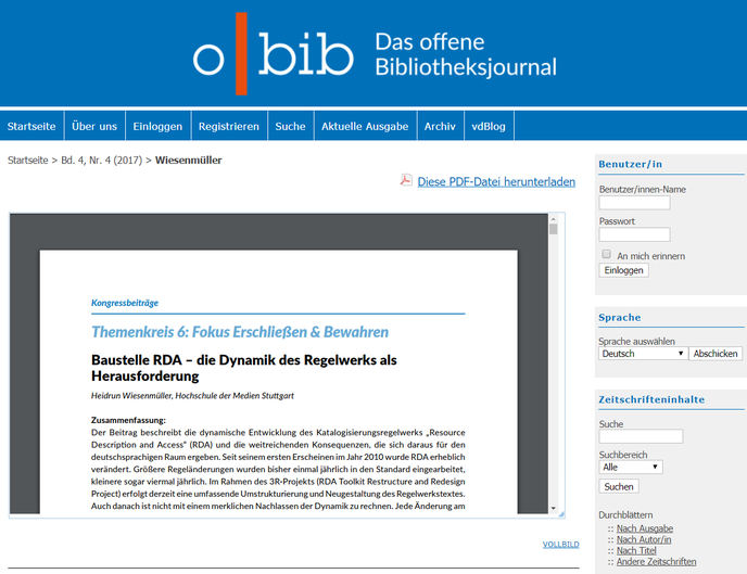 """Screenshot des Aufsatzes """"Baustelle RDA"""" auf der o-bib-Website"""