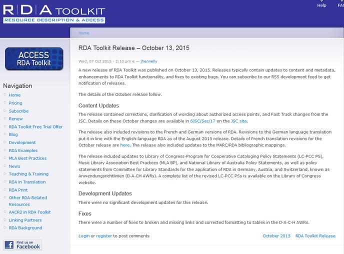 Screenshot Infos zum Oktober-Release auf der Website des RDA Toolkit