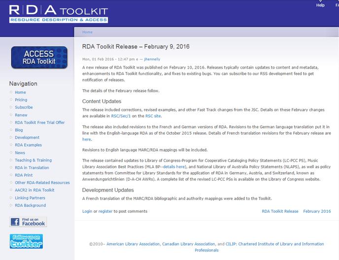 Screenshot Infos zum Februar-Release auf der Website des RDA Toolkit