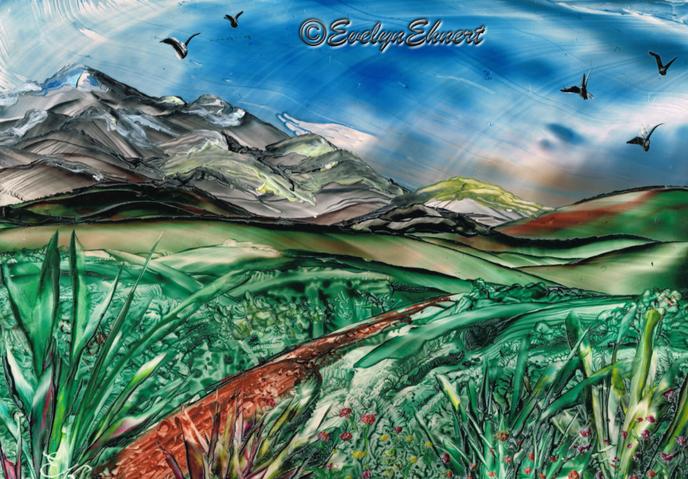 """Bild_Evelyn_Ehnert_Enkaustic_Titel """"Berge"""" Größe - Postkarte Auftragsarbeit_Zeichnung"""