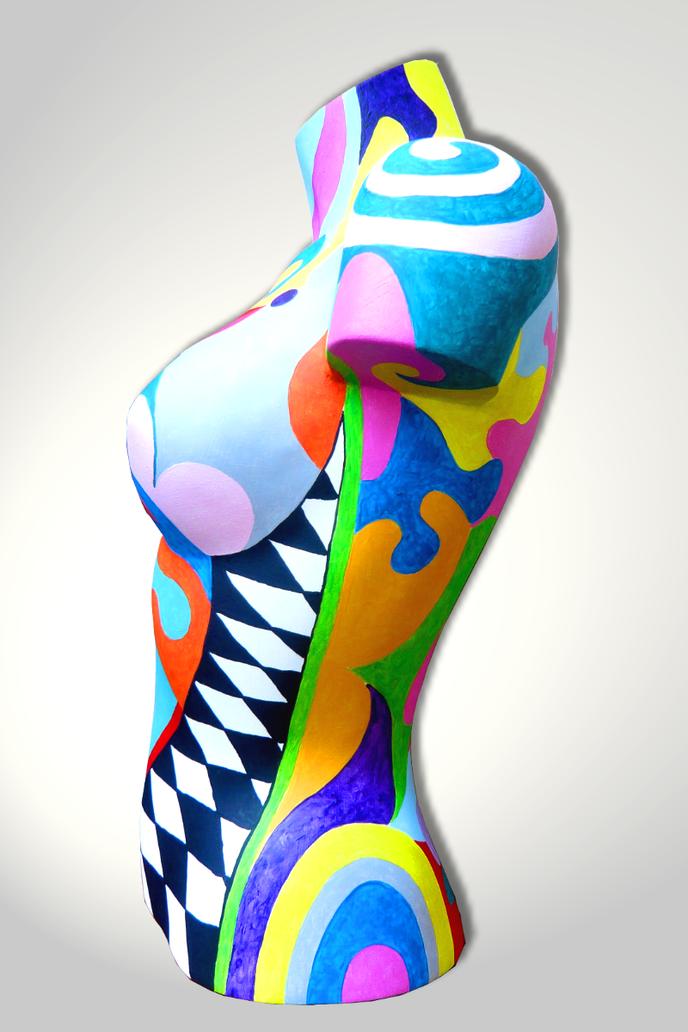 Torso 12 / 1, Skulptur, bunt, abstrakt, Art, Kunst, Malerei, Original, Unikat, Kunststoff, Acryl, Seitenansicht