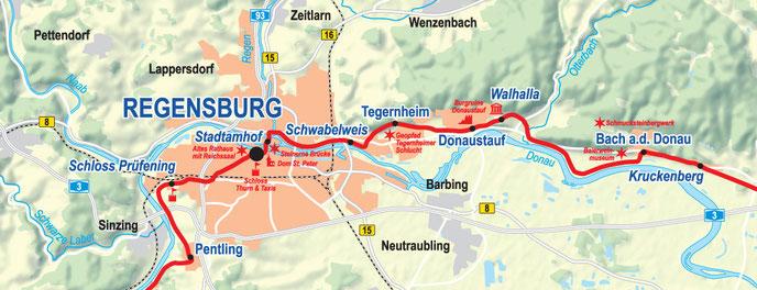 Vergrößerbare Karte Etappe Regensburg bis Bach a. d. Donau